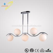 GZ20454-5P OEM glass dining pendant light,round ball hanging pendant light clear glass globe chandelier