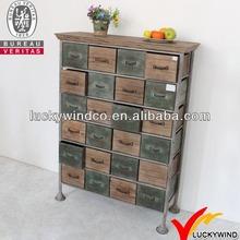 24 drawers vintage industrial wood multi storage cabinet