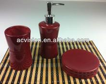 3 pcs purple china bathroom accessories accessory set, ceramic bath accessory set, ceramic bathroom fitting