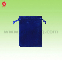 Promotion Blue Velvet Pouch Drawstring for Jewelry