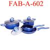Aluminum blue color non-stick pots and pans
