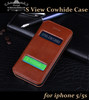 Case for iphone 5s genuine leather flip cover, S view case open window with wake and sleep function