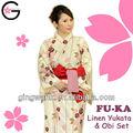Fu - ka japonés Hotel Resort del uniforme del Kimono del resorte caliente de baño moderno rosa crema de lino Yukata Kimono de señora Men de los niños