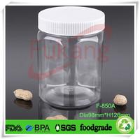 wholesale clear 850ml PET plastic hexagon tube,food grade hexagon bottle for sale