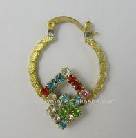 Hot Selling Bulk Cheap Wholesale Raw Brass Colored Rhinestone Hoop Earrings