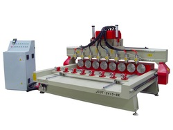 Jinan professional cnc 2415-8R wood cutting machine with vacuum table and dust collector