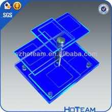 multi-tiered LED acrylic display&acrylic wine bottle holder with blue LED