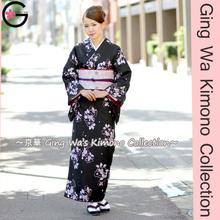 Japanese Traditional Costume Wholesale Clothing Event Shooting Lady Black Sakura Lined Kimono Yukata Dress