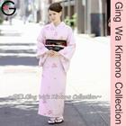 Traditional Japanese Authentic Kimono Costume Sale Dance Odori Party Dress Lady Light Pink Japanese Plum Lined Kimono Costume