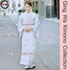 Fu-ka Fashion Japanese Wedding Kimono Dress Photo Shooting Polyester Lady Light Purple Washable Lined Kimono Dress