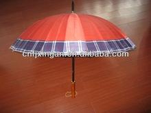 16K check golf wooden handle umbrella