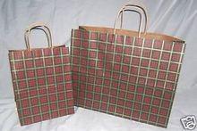 Wholesale Set of 200 Christmas Xmas Plaid Paper Shopping Bags 8x10 16x12