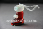 Beautiful Christmas shoes crystal glass red boots for decoration