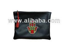 Moroccan Black Handbag, Leather pouch bag for women