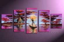 Framed Natural Handmade Modern Abstract African Art Landscape Paitings,Canvas Wall Art AR-003