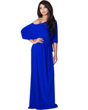 cobalt blue scooped neck full length 3/4 sleeve plus size ballroom dance dresses