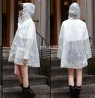 Top quality TPU lace sexy girls plastic pvc rain coat for women