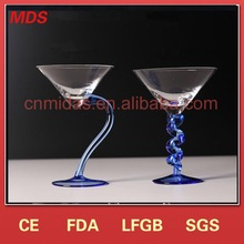 Crystal novelty cocktail glass with blue stem