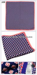 Dark blue with Floral Red Dots 100% silk Pocket Square For Men