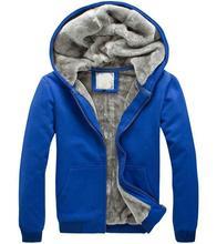 Men's winter blue thick hooded sweatshirt jacket