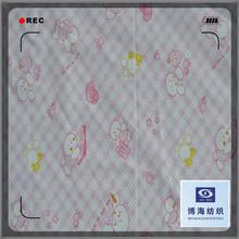 white ground print cotton/poly fabrics with check printing