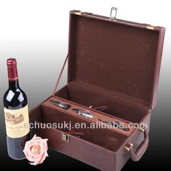 Hot sale 2 Bottles Leather Wine Carrier