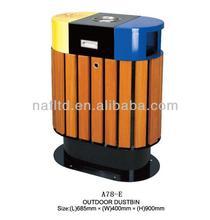 outdoor garden park & hotel plastic dustbin cleaning wood iron dustbin
