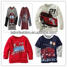 Na venda do carro padrão da criança do bebé t - camisa de malha interlock longo mock 2 fer t-shirt t do t-shirt das crianças