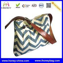 Pleated Diaper Purse Blue Chevron Canvas w Buttons Leather Strap Adult Shoulder Bag