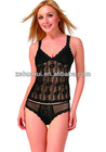 See-through jacquard & stretch lace fabric woman underwear camisole set