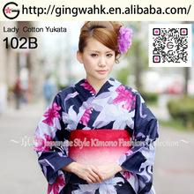 Fuuka Japan Kimono Producer Wholesale Washable Cotton Lady Fancy Dark Blue Pink Lily Yukata Obi Special Price Sale Set