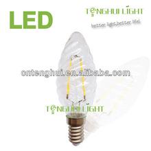 twist candle led filament bulb,2w e14/e27/b22 c35 led filament lamp