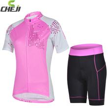 Hotsale 2014 Cheji short sleeve jersey nomal shorts set wholesale Good Quality Women bicycle wear cycling short set