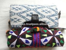 KTCB-14 Fancy Bead Embroidery Traditional Pakistani Zardozi Work Block Printed Lady Clutch Bags Floral Designer Item