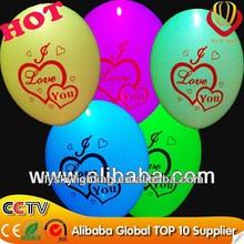 Ali-express colorful flashing led light balloon biodegradable flashing printed I love you for wedding decoration