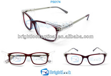 Safety Glasses Eyewear Protectio Industrial Red Plastic Frame And Metal Temple Safety Glasses