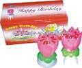 2014 flor de loto música de fuegos artificiales vela de cumpleaños