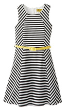 2014 Girls 7-16 Girl Striped Ponte Fit and Flare Dress with Belt kids girls evening dresses