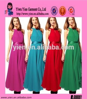 الحلوى الملونة حزام فستان السهرة بدون أكمام ماكسي فساتين الشيفون