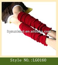 Red Winter Warm Women Plain Knitted Leg Warmers wholesale