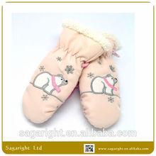 2015 New Born Pink Beautiful and Fashion Ski Winter Mittens Gloves