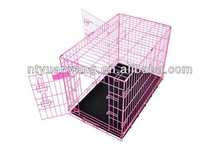 colorful pet house Pink Portable Folding Dog Pet Crate Cage Kennel Two Door ABS Tray