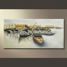 Fashion 3D Wall Arts Boat Landscape Oil Painting for Home Decorating
