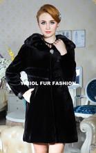mk14302 fashion mink fur jacket black large collar