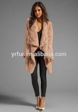 Yr-511 ladies' coniglio pelliccia lavorato a mano cappotto/vera pelliccia/custom- made