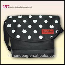 Black Polyester Korea Fashion Ladies Handbag with Long Strap