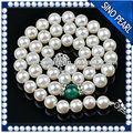 Aa 8-9mm cerca de ronda de perlas moderna con diamantes de imitación y de ágata collar de cadena simple