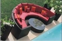 Swimming pool semi circle patio furniture