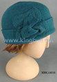 Verde lã gorro feminino barata Cap chapéu