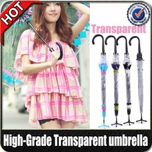 hight quality promotional fashion clear plastic durable straight pvc color transparent umbrella